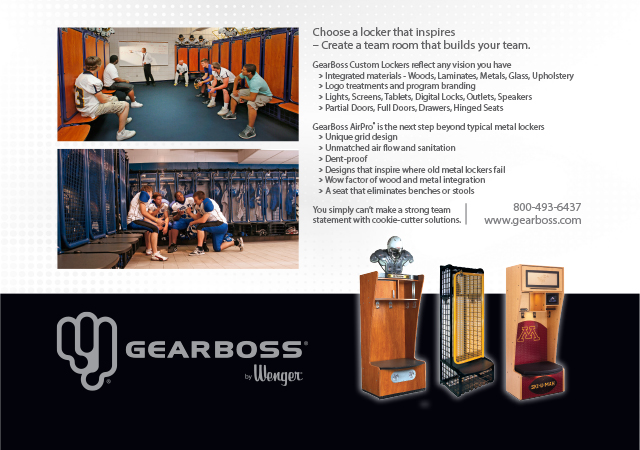 Choose a locker that inspires  – Create a team room that builds your team. GearBoss Custom Lockers reflect any vision you have    › Integrated materials - Woods, Laminates, Metals, Glass, Upholstery    › Logo treatments and program branding    › Lights, Screens, Tablets, Digital Locks, Outlets, Speakers    › Partial Doors, Full Doors, Drawers, Hinged Seats GearBoss AirPro® is the next step beyond typical metal lockers    › Unique grid design    › Unmatched air flow and sanitation    › Dent-proof    › Designs that inspire where old metal lockers fail    › Wow factor of wood and metal integration    › A seat that eliminates benches or stools You simply can't make a strong team statement with cookie-cutter solutions. 800-493-6437 | www.gearboss.com